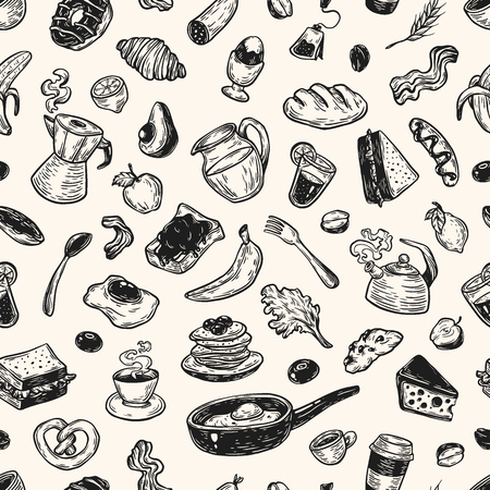 bread maker: Hand drawn pattern with breakfast and morning elements. Vector breakfast food, meal and drinks. Eggs, bacon, coffee, sweets, fruits and vegetables. Illustration