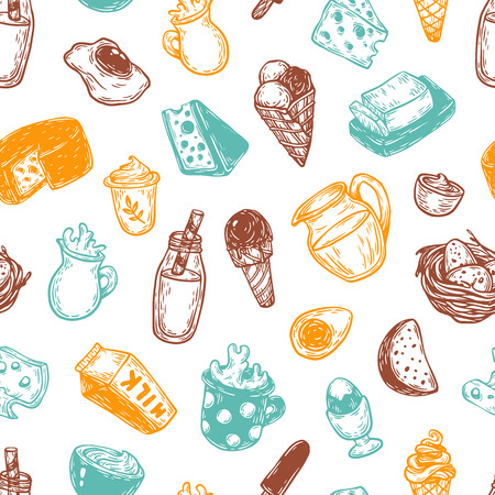 Hand drawn pattern with vector dairy products. Milk products: cheese, butter, yoghurt and different types of desserts. Breakfast products.