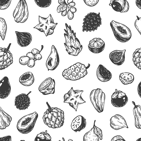 most popular: Pattern with hand drawn vector exotic fruits. Tropical fruits, seamless pattern. The most popular exotic plants. Dragon fruit, papaya, starfruit.