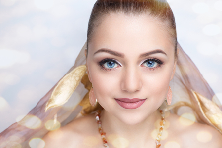 actress girl: Portrait of beautiful young elegant woman girl lady actress Greek Aphrodite goddess bride model wealth luxury effects. Perfect professional makeup, beautiful face, soft skin, natural lip, beige gloss Stock Photo