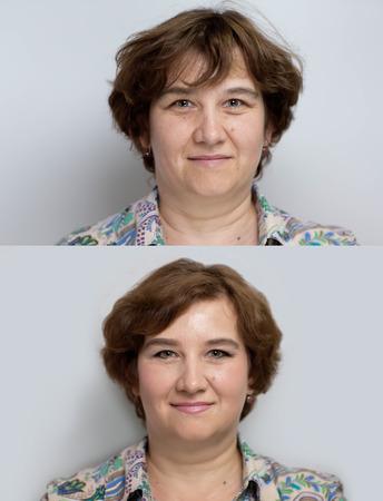 전 메이크업 피부 절차 후 인물을 묘사하는 두 전문 사진. 완벽한 안티 에이지 결과와 함께 행복 수석 아가씨, 주름, 아니 피곤 눈, 약간의 미소, 편안한 얼굴 알아서하지 스톡 콘텐츠 - 55674204