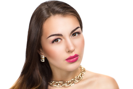 matt: Portrait of beautiful young girl, woman, lady, model. Flawless makeup, perfect shape of the eyebrows, long eyelashes, bright pink lipstick. Image can be used for advertising of new cosmetic products