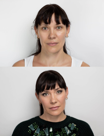 Two professional photos depicting portraits before and after make-up skin procedures. Happy senior lady with perfect anti-age result, no wrinkles, not tired eyes, slight smile, relaxed face, take care