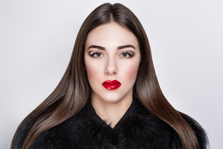 hairdress: Retro style woman portrait perfect face, new professional make up bright red lips big eyes, fluffy shoulders, stylish brunette hairdress shiny healthy long hear. Vip person one million baby love money