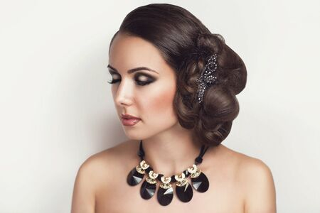 sultry: a girl with an evening make-up and beautiful hair bulk hair-style, sultry brunette