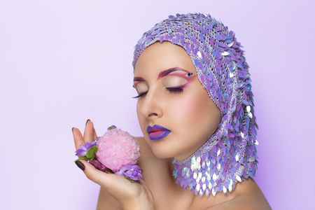 photo story: Art make up. Sea story love to treasures. Professional studio photo free place for text on violet background