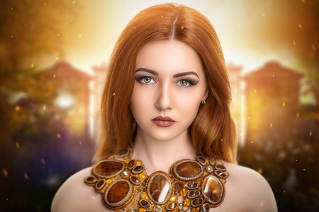 beautiful young girl, woman, lady, character, fairy, queen,  redhead. Attractive, sexy, fabulous, mysterious appearance. Perfect, stylish, expressive makeup. Can be used like the cover for CD or DVD