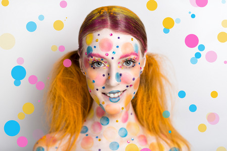 souffle: Very positive, bright, extraordinary picture. Candy Lady Art Makeup. Young smiling girl with creative body-art, vanilla girl. Party leaflet, advertisement, cosmetics, jewelry, food, blog, web-cite.