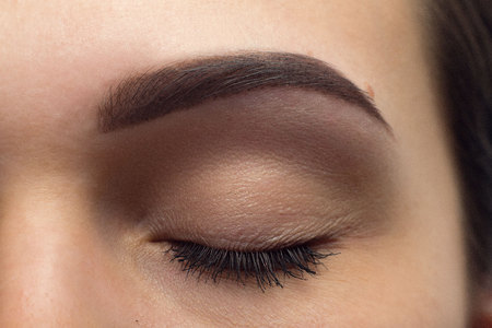 pull out: Expressive, significant eye, perfect shape of eyebrow after correction, beauty salon, pull out, have hair thinned out, care, review of the eyes, light brown coloring, natural, procedure. Young, clean Stock Photo