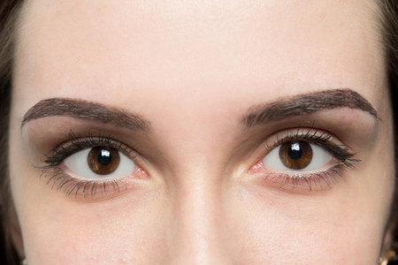 pull out: Expressive, significant eyes, perfect shape of eyebrows after correction, beauty salon, pull out, have hair thinned out, care, review of the eyes, light brown coloring, natural, procedure. Young clean