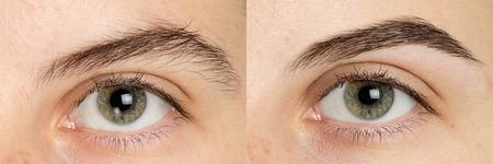 Schließen Sie herauf Foto der Fachmannverfahrenskorrekturform von großen Augenbrauen für Mann. Perfekte Augenbrauen Teil Gesicht. Augenpflege, hellbraune Färbung, natürliche Form, Verfahren. Pflege dünn ausziehen