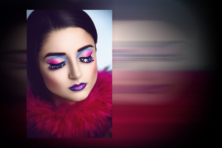 Magic Woman Face art Portrait of the magician with bright make up, lashes. Photo with big free space, area, place for text, your inscription, buttons, use this photo for the web cite or magazine, card Banco de Imagens