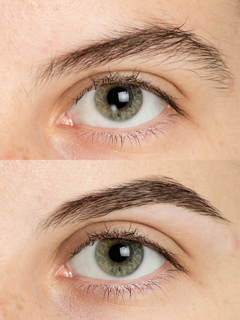 Close up photo of professional procedure correction shape of big eyebrows for man. Perfect Eyebrows Part Face.  eyes care review, light brown coloring, natural shape, procedure. Care thin out pull out