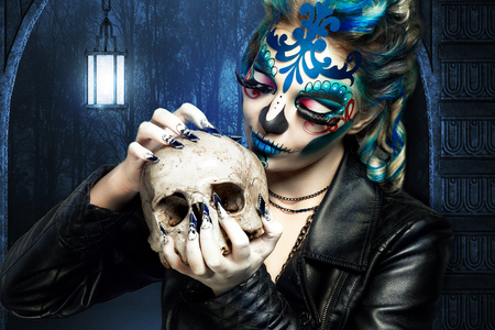 traje mexicano: New creative calavera is a representation of human skull. applied to decorative make up the Mexican celebration of the Day of the Dead Dia de los Muertos and the Roman Catholic holiday All Souls Day
