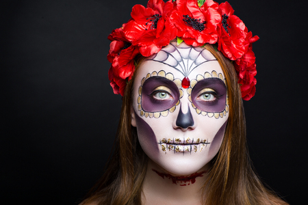 New creative calavera is a representation of human skull. applied to decorative make up the Mexican celebration of the Day of the Dead Dia de los Muertos and the Roman Catholic holiday All Souls Day. Stock fotó - 87733535