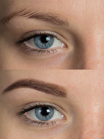 Perfect Eyebrows Before After. Two photos of eyes, eyebrows before & after correction. care and review of the eyes, light brown coloring, natural, perfect shape, procedure. Care, thin out, pull out.