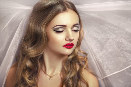 Perfect Bride with golden hair. Dreams. Desire. Beautiful beautiful, pretty. professional photo, portrait, photo model face, red lips, closed eyes, enjoyment, delight, pleasure. Lady girl female miss
