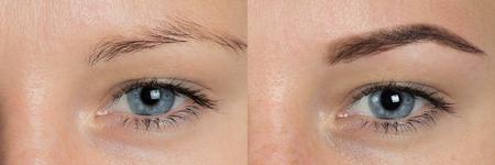 Perfecte wenkbrauwen voordien. Twee foto's van ogen, wenkbrauwen voor en na correctie. zorg en beoordeling van de ogen, lichtbruine kleurstoffen, natuurlijke, perfecte vorm, procedure. Verzorg, dun uit, trek uit.