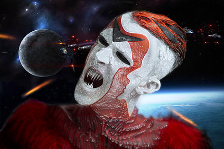 Silver and Red Man from Outer Space. make up, body art,  face art, new shape, attractive, crazy. Creative concept art made by professional cosmetics, hairstyle. usurper from galaxy, new civilization.