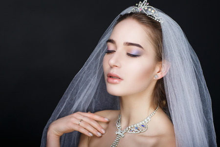 Perfect beautiful bride woman girl lady princess prepare wedding. white long veil, silver swarovski diamond crown necklace. Professional make up bright eyes, beige lips lipstick. background clipping