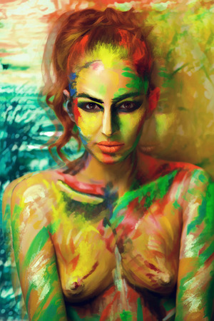 Girl painter artist professional picture, all body Painted in gouache watercolor acrylic oil paints. Creative makeup new conceptual idea. Crazy new graphic abstract picture woman face shoulders lines