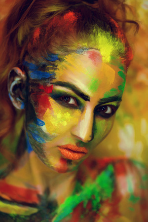 Girl painter artist professional picture, all body Painted in gouache watercolor acrylic oil paints.