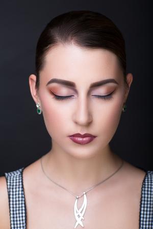 Closeup portrait beautiful girl woman lady hair styling. Luxury professional art makeup. Purple dark shiny lipstick. Sexy body necked shoulders. New photo close up portrait gray light color background Stock Photo