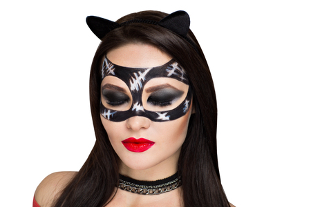 Young beautiful bright showy girl lady model sexy cat. Fairy tale future party cosplay club. new makeup flawless face dark eyes cheeks eyebrows cat lips, long hair brunette. Facial mask, choker chain