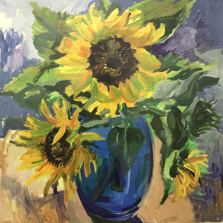 Drawing of sunflowers in a blue vase. Picture contains an interesting idea, evokes emotions, aesthetic pleasure. Canvas stretched on a stretcher, oil natural paints. Concept art painting texture