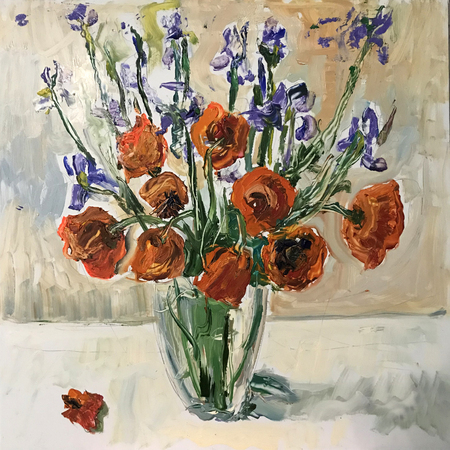 Drawing of spring or summer poppy bouquet. Picture contains an interesting idea, evokes emotions, aesthetic pleasure. Canvas stretched on a stretcher, oil natural paints. Concept art painting texture