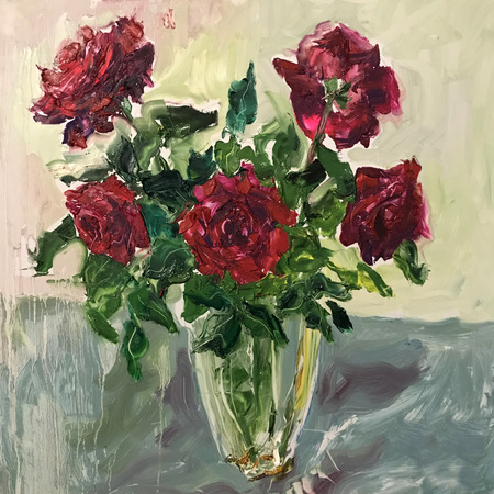 Drawing of red roses flowers bouquet in vase. Picture contains an interesting idea, evokes emotions, aesthetic pleasure. Canvas stretched on stretcher, oil natural paints. Concept art painting texture Imagens