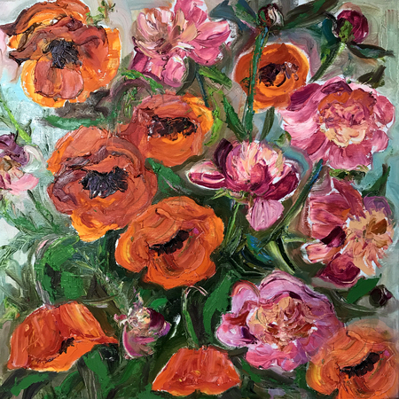Drawing of pink peony poppy flower bouquet. Picture contains an interesting idea, evokes emotions, aesthetic pleasure. Canvas stretched on a stretcher, oil natural paints. Concept art painting texture Stock Photo