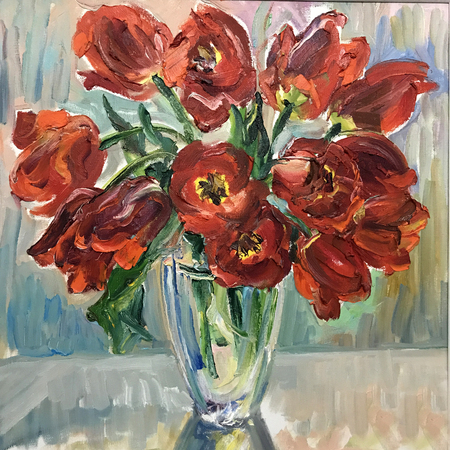 Talented artist painted a still life, flowers in a vase. Colorful canvas of paints, depicts bright summer picture. Draw with large strokes in pasty technique. Realistic painting, original art concept