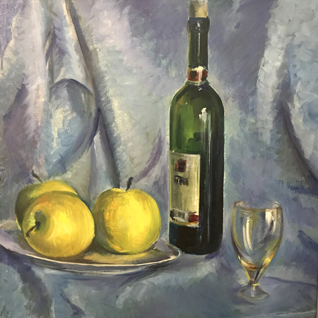 Still-life image of fruits. Realistic oil painting on canvas. Fruits are beautifully arranged, composition on a round tray. Three yellow apples, bottle with red vine, clear glass, draped white cloth 스톡 콘텐츠