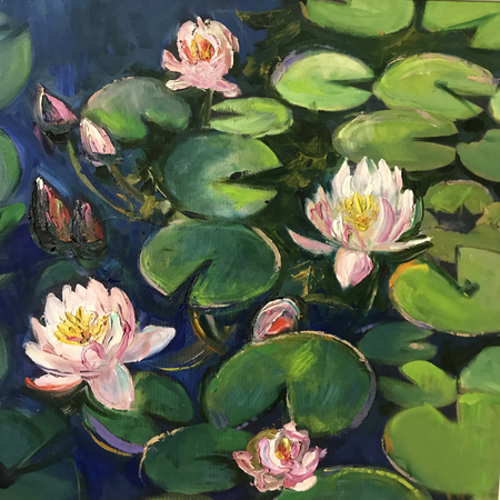 Realistic oil painting square. Water lilies bloomed on the green petals, water-lily in the garden lake, swamp, river. Modern art conceptual picture of bright sunny day, positive mood like in fairytale Stock Photo