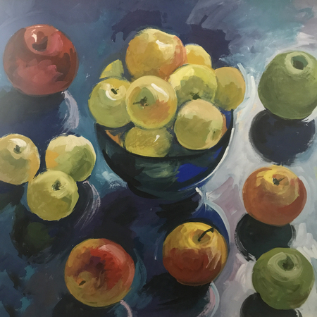 Drawing of tasty fruits juicy apples. Picture contains an interesting idea, evokes emotions, aesthetic pleasure. Canvas stretched on a stretcher, oil natural paints. Concept painting texture strokes