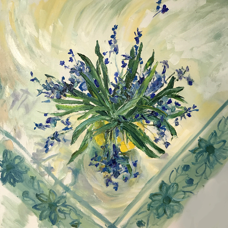 Spring flowers in a yellow vase. Blue Bells, Cornflowers. Still life on a white tablecloth with patterns embroidered in technique of gzhel. Large brush strokes artist realistic painting. Triangle form 스톡 콘텐츠