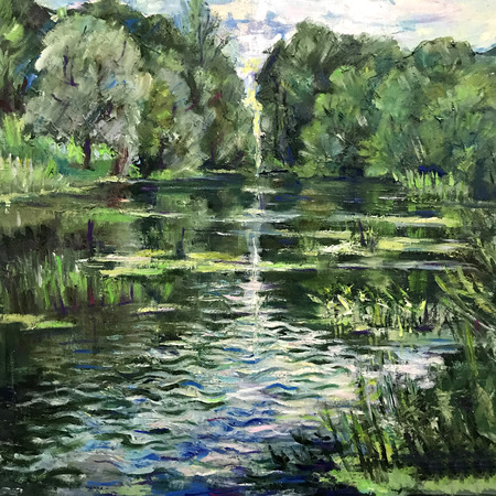 Landscape in a quiet secluded place, abandoned deserted village. Wildlife is reflected on the watery surface. Realistic painting on a square canvas, oil paint. Summer time green trees bushes leaves.