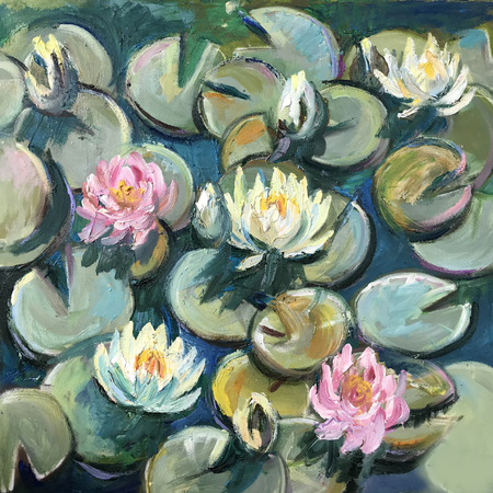Realistic oil painting square. Water lilies bloomed on the green petals, water-lily in the garden lake, swamp, river. Modern art conceptual picture of bright sunny day, positive mood like in fairytale Zdjęcie Seryjne