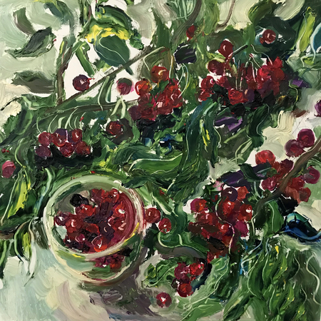 Drawing of tasty fruits red cherries. Picture contains an interesting idea, evokes emotions, aesthetic pleasure. Canvas stretched on a stretcher, oil natural paints. Conceptual art painting texture