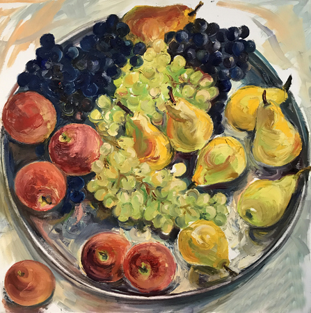 Still-life image of fruits. Realistic oil painting on canvas. Fruits are beautifully arranged, composition on a round tray. A lot of big bunches of blue grapes, yellow pears, apples, vitamin quince