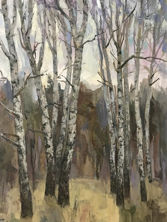 Autumn painting, leaves crumbled birches. Huge trees stand bare, trunks are covered in black and white colors. Global problem of the environment deforestation. Industry to cut down wild forests. Paint Banque d'images