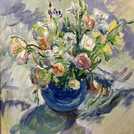 Talented Artist Painted A Still Life Flowers In A Vase Colorful