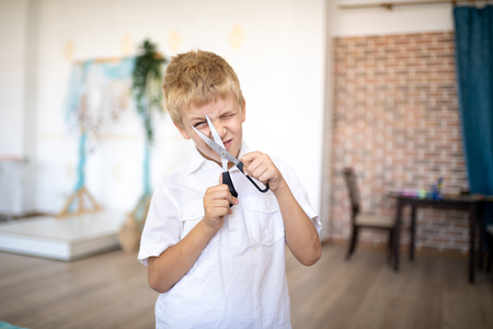 Young handsome boy, blond white hair, style official short-sleeved shirt, holding big hair clippers. Role-playing hairdresser or tailor, love of education, desire to have a bright interesting future Standard-Bild