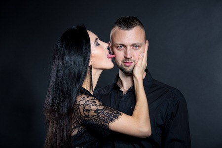 Lovers role-playing games. Dominate obey undress seduce partner, new surprise. Tell the secret to ear asmr effect tingles, lick licking long tongue. Wife husband date idea. Thematic party aggressive Imagens
