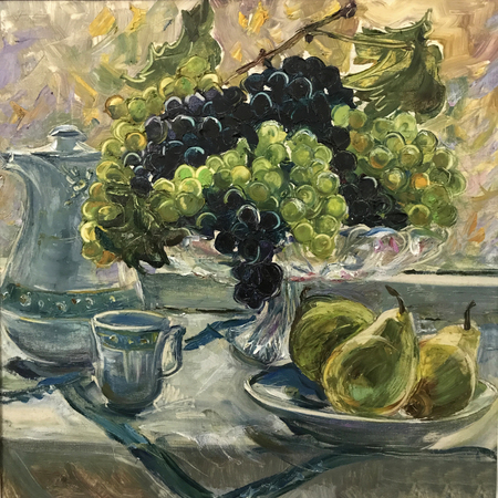 Still-life image of fruits. Realistic oil painting on canvas. Fruits are beautifully arranged, composition on a round tray. Three yellow pears, porcelain jug glass, green blue grapes in vase. Tea time 스톡 콘텐츠