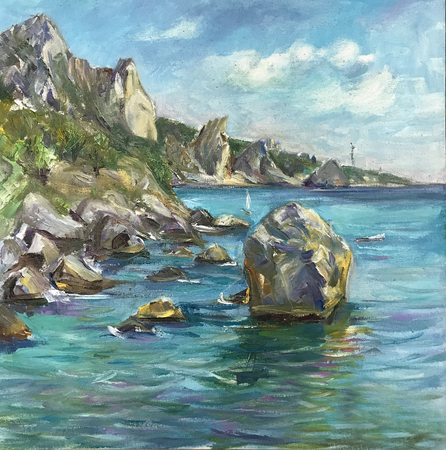 Drawing bright blue seascape, vacation, cliff. Picture contains interesting idea, evokes emotions, aesthetic pleasure. Canvas stretched on stretcher, oil natural paints. Concept art painting texture