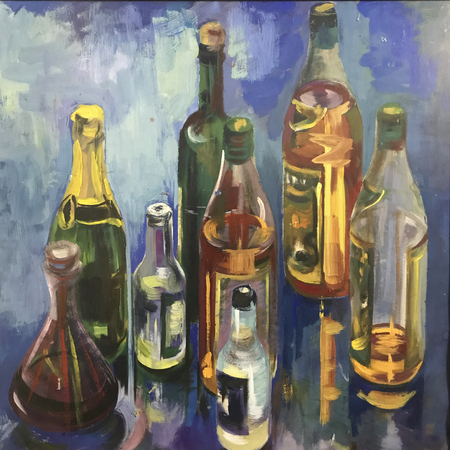Drawing bright bottles alcohol, square frame. Picture contains interesting idea, evokes emotions, aesthetic pleasure. Canvas stretched on stretcher, oil natural paints. Concept art painting texture Stock fotó
