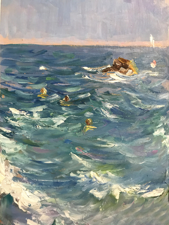 Drawing bright sunny day people swim in the sea. Picture contains interesting idea, evokes emotions, aesthetic pleasure. Canvas stretched on stretcher, oil natural paints. Concept art painting texture Stock fotó