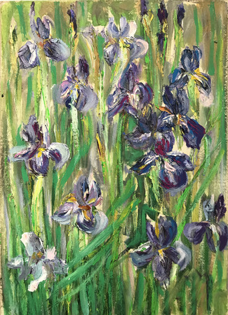 Drawing bright irises, wild summer spring field. Picture contains interesting idea, evokes emotions, aesthetic pleasure. Canvas stretched on stretcher, oil natural paints. Concept art painting texture Stock fotó
